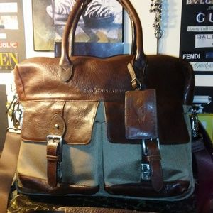 POLO RALPH LAUREN leather/nylon briefcase